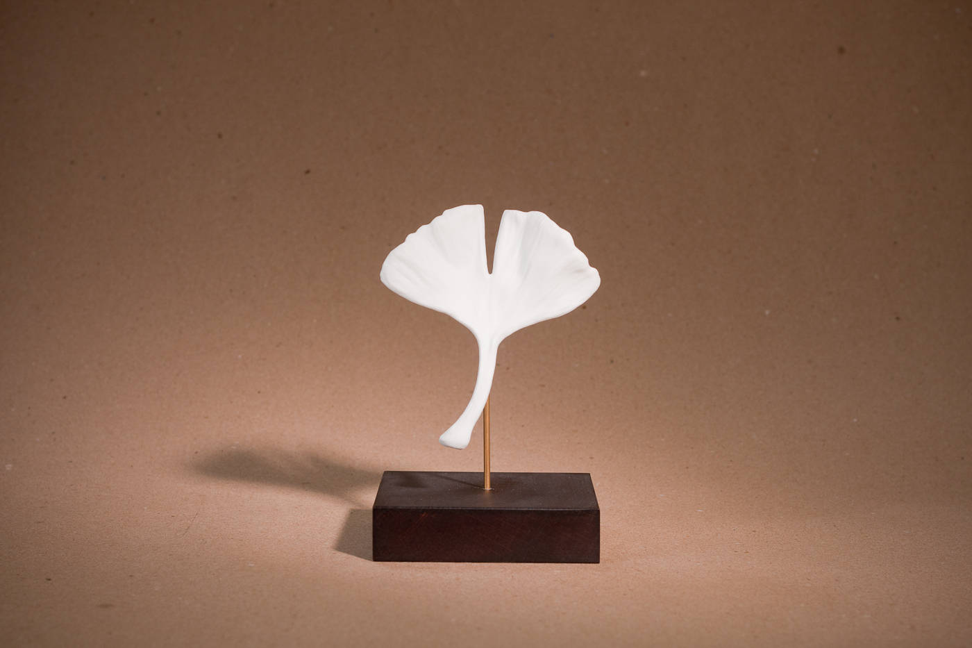 Gingko sur socle porcelaine